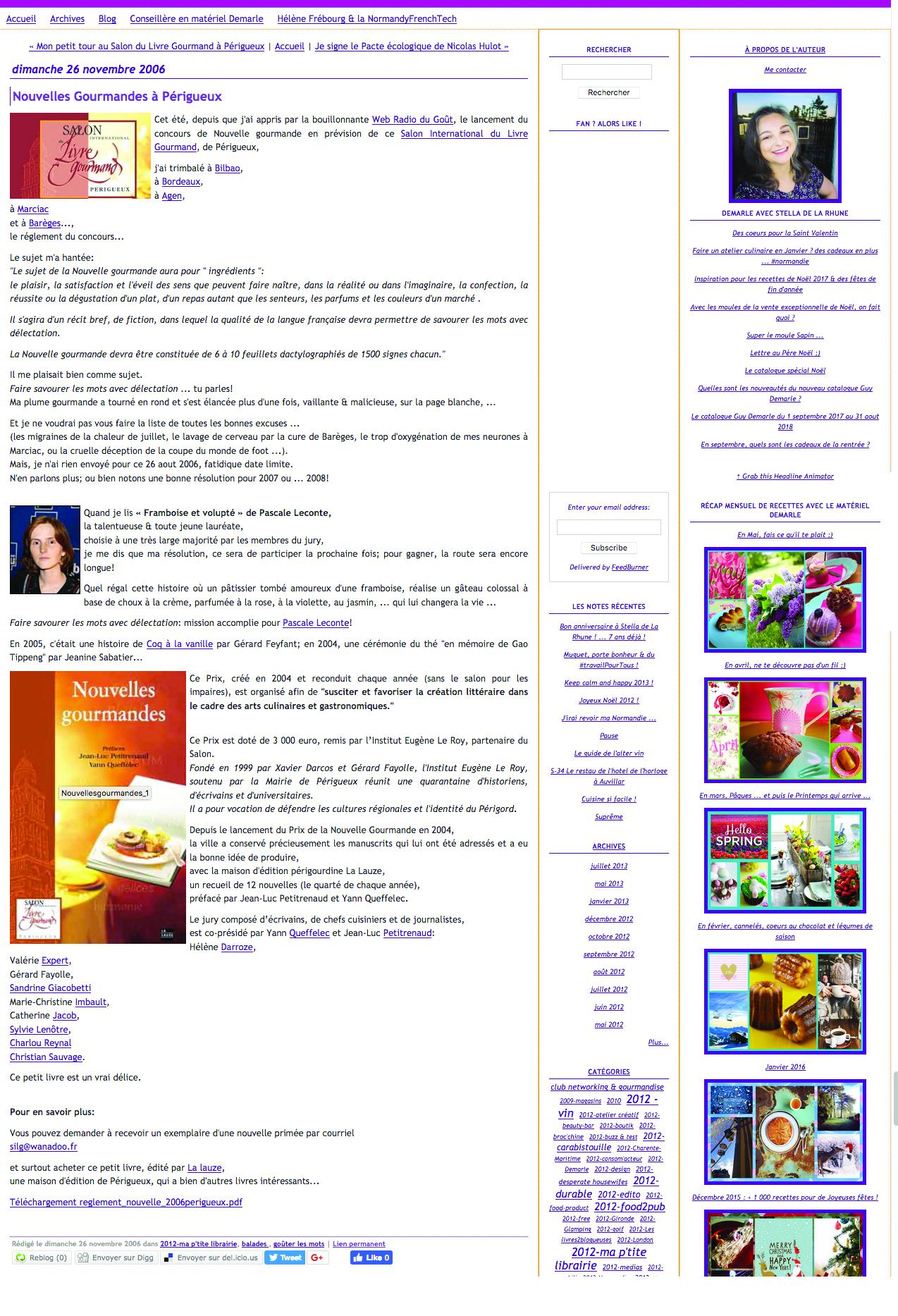 Article de stella de la rhune sur framboise 2006